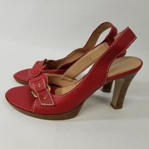 Franco Sarto RED LEATHER Peep Toe Slingback Sandal